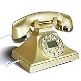 Max Home@ 1970's Retro-Telefon, Europäische Mode-Telefon mit Button-Zifferblatt, klassische Antike Telefone Festnetz ( Farbe : Gold )