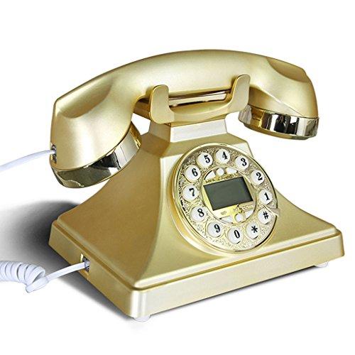 LJF Antike-Telefon 1970's Retro-Telefon, Europäische Mode-Telefon mit Button-Zifferblatt, klassische Antike Telefone Festnetz ( Color : Gold )