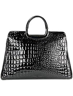 BELLI ital. Leder Handtasche Business Bag DIN A4 geeignet schwarz lack Kroko Prägung - 41x36x12 cm (B x H x T)