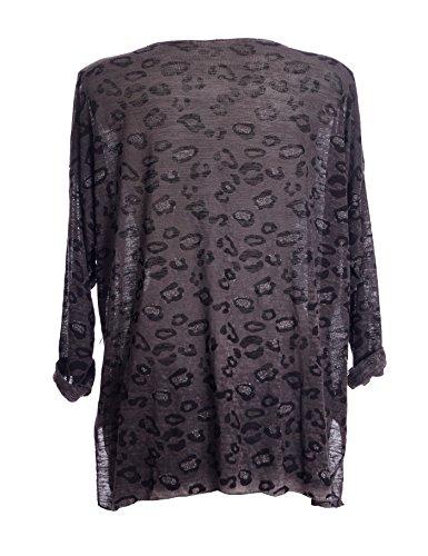 Fashion Italy Damen Pullover mit Leo Muster und Glitzer Feinstrick Longpullover Longsleeve langarm Grau