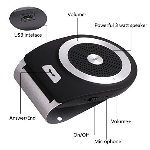 Kabellos Bluetooth 4.1 Autolautsprecher Phone Auto Kit Fuer die Sonnenblende H/ände Frei Fuer 2 Telefone gleichzeitig Unterstuetzt Smartphone iPhone7//6//6s Plus und andere Geraete mit Bluetooth