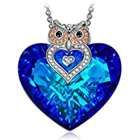 J NINA Butterfly Love Bermuda Blue Heart Design Women Pendant Necklace with Crystals from Swarovski, Nickel-Free, 45+5cm extender