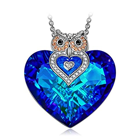 J.NINA Owl of Minerva SWAROVSKI crystals Pendant Women Necklace Blue Heart Jewellery Birthday Gifts Valentines Gifts Mothers Day gifts Christmas Gifts Anniversary Wedding Gift for Wife Mother