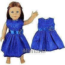 Miunana Fatti A MANO Abito Vestito Con Cintura E Fiore Per 18 Pollici Bambola Americana Gotz E American Girl Dolls - Azzurro
