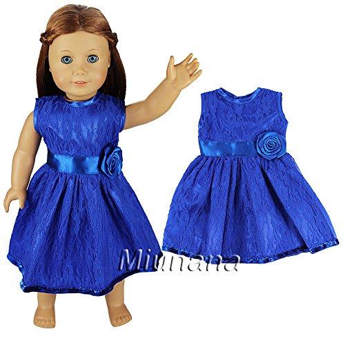Miunana 1x Muñeca Fashion Vestido Lazo con Cordón Casual Ropa Verano para 18 Pulgadas American Girl Doll - Azul