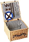 Greenfield Collection Deluxe Winchester Willow 4-Person Picnic Hamper - Midnight Blue and White Striped Lining