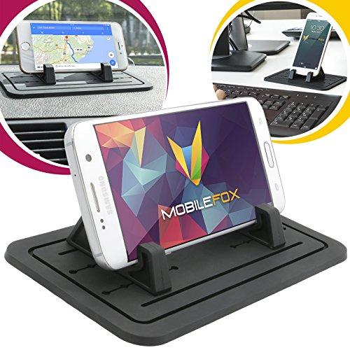 mobilefox® KFZ Anti-Rutsch Matte Halter Halterung Auto Armaturenbrett Tisch Halter Ständer für Samsung Galaxy J1 J3 J5 J6 J7 schwarz