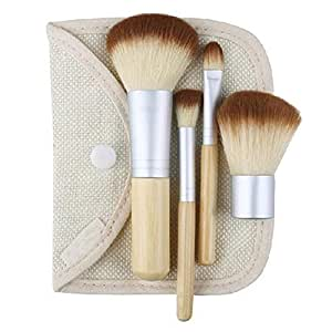 WANGSCANIS 4pcs pinceau de maquillage Brosses bambou avec un sac cosmétique
