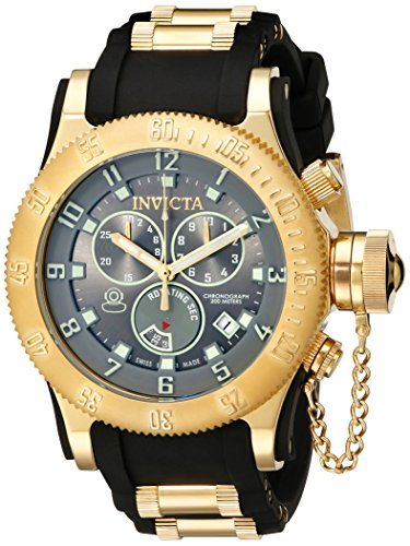 Invicta Men's Quartz Watch with Grey Dial Chronograph Display and Black PU Strap 15564