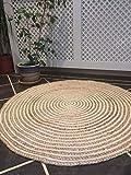 Alfombra de comercio justo, 90 cm, redonda, color beige, trenzada, yute natural y algodón