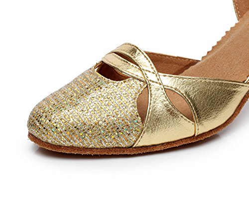 Minitoo QJ707–Mary Jane-Sparkle Glitter moderne Salsa Tango écoles de danse latine chaussures Or - doré