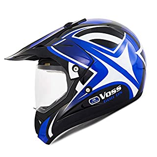 DUEBEL HD802 Motorrad Motocross Cap Downhill/MTV/Crosscounty, ECE 2205 Zulassung* Road Legal, Blau, blau, S