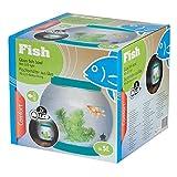 ø21.5cm 5L rotondo ciotola Fish Tank di vetro luce a LED acquario Blue
