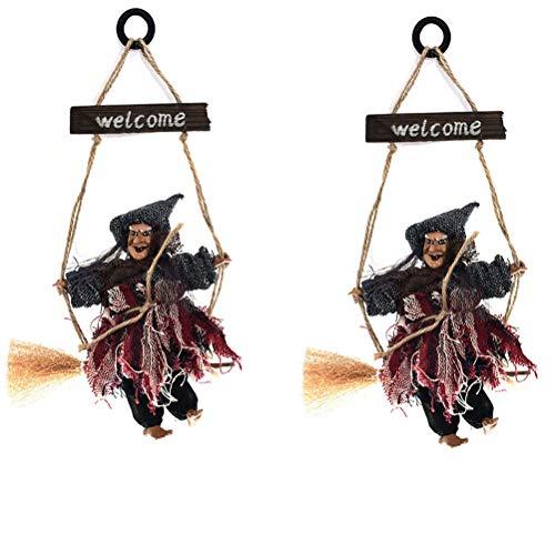 Garneck 2 stücke Hexe Besen kostüm hängen Dekorationen Stroh Besen assistent zubehör für Halloween Party wp2 grau Hexe - Zauberer Assistenten Kostüm Kinder