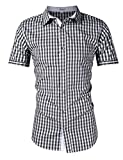 KOJOOIN Trachten Shirt Bianco Camisa Casual a Cuadros de Hombre Camisa de Manga Larga de Estilo Country Camisa Slim fit de algodón Bordado Negro - Manga cortalarge