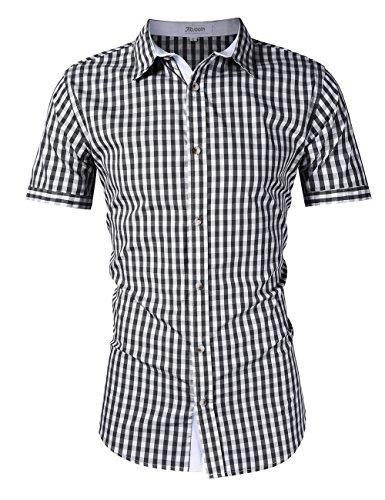 KoJooin Trachten Herren Hemd Trachtenhemd Langarmhemd Freizeithemd Baumwolle - für Oktoberfest, Business, Freizeit (XL, Schwarz1)