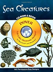 Sea Creatures [With CD-ROM] (Dover Full-Color Electronic Design)