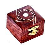 Hashcart handgefertigtes Schmuckkästchen mit indischem Design aus Holz, Schmuckschatulle im traditionellen Design und mit Messingeinlage, holz, Design 8, 2x2 inch