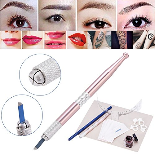 Permanent Augenbraue Tattoo Make-up Übungsset, Micro Nadel Pen + Augenbrauen Microblading Pen+ Tinte Tassen +Praktische Haut Set +Tattoo Augenbraue Creme +Tattoo Bleistift + Eyebrows Measuring Ruler -