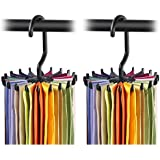 BUCKLE UP Pack of 2 360 Degree Rotating Plastic Tie Rack, 4.4-inches, Black
