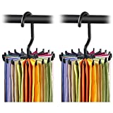 #8: BUCKLE UP Pack of 2 360 Degree Rotating Plastic Tie Rack, 4.4-inches, Black