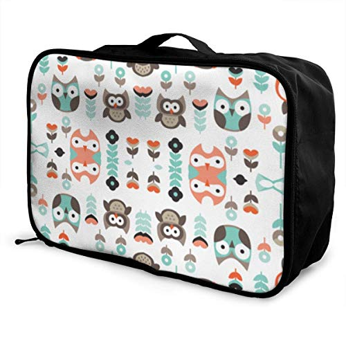 Qurbet Reisetaschen,Reisetasche, Portable Luggage Duffel Bag Mint and Orange Owl Travel Bags Carry-on in Trolley Handle -