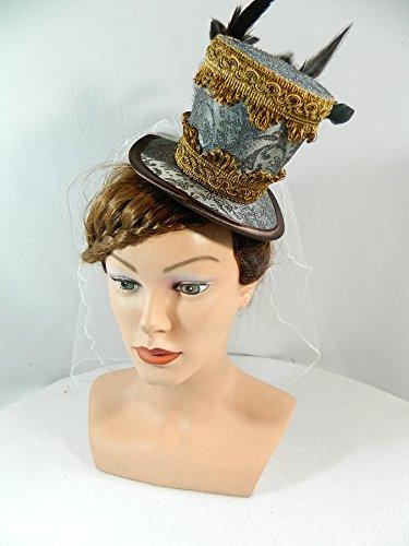 Midi Zylinder grau braun Schleier Fascinator Steampunk Damenhut Headpiece Gothic - Victorian Burlesque Kostüm