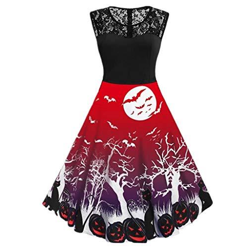 Spider Web Kleid Kostüm - Luckydlc Halloween Scary Kostüm Spider Web Print Ärmelloses Minikleid Retro Party Kostüm luckydlc (Color : 04, Size : L)
