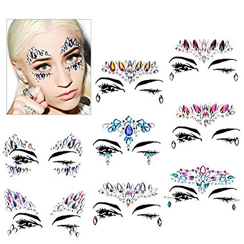 Gesicht Schmucksteine, Konsait 8 Stück Gesicht Edelsteine Juwelen Temporäre Tattoos Gesichts Aufkleber Selbstklebend Glitter Bindi Strass Face Tattoo für Parties, Festival Shows, Make-up