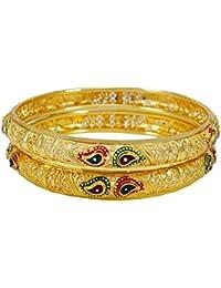 879df3142bc3 Banithani Étnica sistema del brazalete de las pulseras de la India  tradicional enchapada en oro de la joyería de la boda 2…