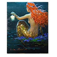 ayuxin Mermaid Oil Painting Wall Art Fantasy Vintage Girl Picture Canvas Print For Sitting Room Living Room Adornment Art