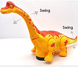 FunBlast Walking /Moving Dinosaur Toy with Flashing Lights and Realistic Dinosaur Sounds Children's Kids Toy - Battery Operated, Available in 2 Colors (Yellow)