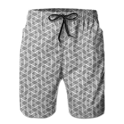 Mens Beach Shorts Swim Trunks,Minimalist Zig Zag Striped Overlapping Lines Abstract Urban Style Indie Art Deco,Summer Cool Quick Dry Board Shorts Bathing SuitL