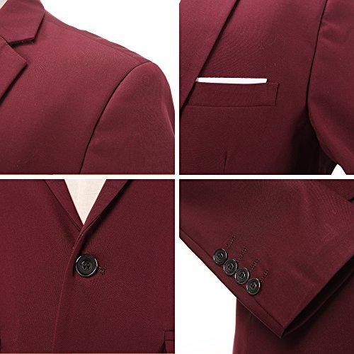 INFLATION Klassisch Slim Fit Schnitt Herren 3-Teilig Anzüge Anzugsuit Men's Suit Reine Farbe Casual Sakko Anzüge Smokings Anzugjacke+Weste+Anzughose 10 Farben verfügbar, XL-6XL Weinrot