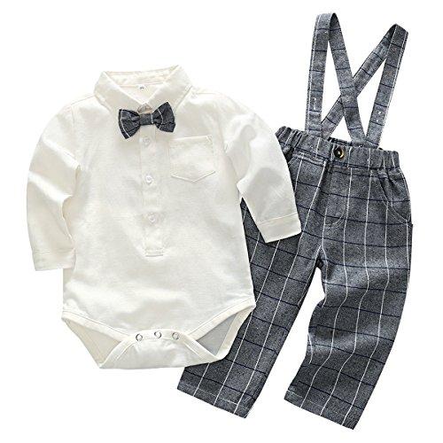 Feoya Jungen Outfits langarm Frühlinganzug Fliege Taufanzug Baby Baumwolle Hemd Hose Set Hochzeit Anzug 18-24 Monaten (20 20 Anzüge)