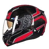 JY Moto Casco,Anti-Fog resistenza all'abrasione Sport Motorino Caschi,Fodera Non Soffocante Protezione Testa Moto Cappello Duro Secco/rosso/L