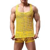 Men Sexy Boxer Débardeur Homme Underwear Hommes Sexy Ensemble de Lingerie Maille Vêtements de Nuit Hommes...