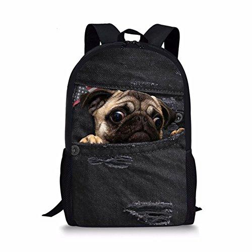 bcd12f25951da Advocator Cute Mops Hund Rucksack Kinder Vintage Denim Print Schultaschen  Mädchen Bookbags