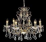 Livitat® großer Kronleuchter Messing Gold 6 armig Ø 60 cm Pendelleuchte barock Lüster Kristall LV3040