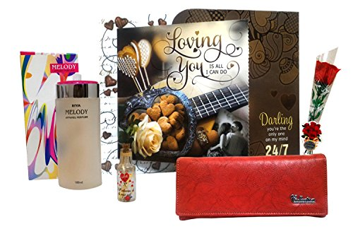 Love Gift For Girls & Women - Love Greeting Card, Womens Wallet, Perfume, Small Message Bottle & Artificial Red Rose  available at amazon for Rs.895