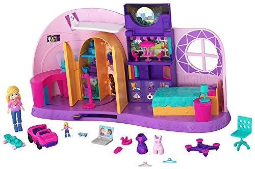 Polly Pocket FRY98 - Und... Klein Zimmer Spielset mit Polly Puppe und Zubehör, Mädchen Spielzeug ab 4 Jahren