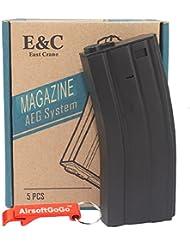 E&C Box of 5 pieces of 70rds M4/M16 Cargador para Airsoft AEG - AirsoftGoGo Llavero Incluido