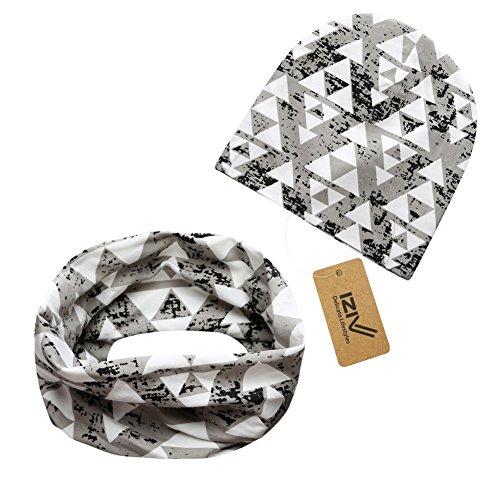 iZiv Babybekleidung Schals Niedliche Baby Kleinkind Kinder Cartoon drucken Hut Kappe Mütze + Schal Warp Set für 0-2 Jahre (Grau)
