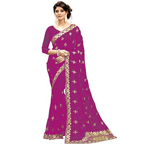 Siddeshwary Fab Women's Faux Pink Georgette pink Saree With Blouse Piece