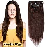 """Extensions de Cheveux a Clip [Double Wefts] [Curve Design Adapte Tête] Sans Glu/Tape (16""""=40cm, 130g) [ 04#Marron Chocolat ]"""