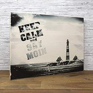 elbPLANKE - KEEP CALM and SAY MOIN - Westerheversand (30x40 cm) Holzbild von Fotoart-Hamburg | 100% Handmade