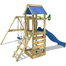 WICKEY Parque infantil FreeFlyer Torre de escalada con tobogán columpio cajón de arena muro para trepar, lona azul + tobogán azul
