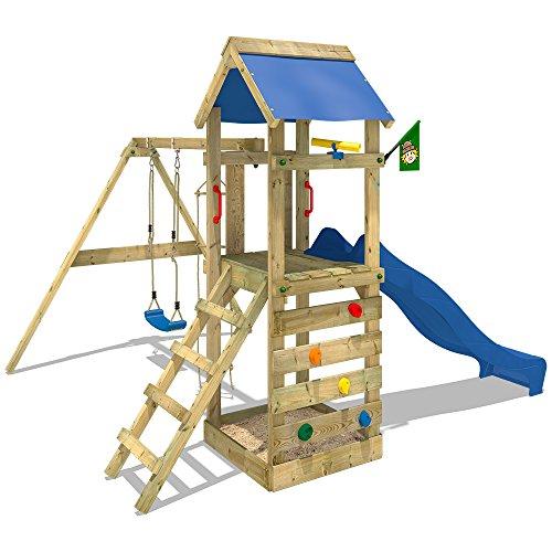 WICKEY Spielturm FreeFlyer Kletterturm mit Rutsche Schaukel Sandkasten Kletterwand Sandkasten, blaue Dachplane + blaue Rutsche