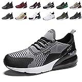 Zapatillas de Deportes Hombre Mujer Zapatos Deportivos Aire Libre para Correr Calzado Sneakers Running 7GrayBlackWhite44EU