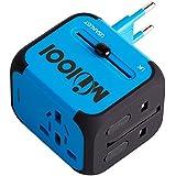 Voyage Adaptateur avec 2 USB MILOOL Adapteur Chargeur USB Convertisseur pour US UK UA EU Environ 150 Pays Universel Multi- Prise de Courant Chargeur avec2 Fuse(bleu)